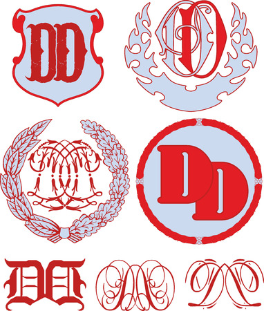 emblematic: Set of DD monograms and decorative emblem templates with two letters DD. Vector collection.