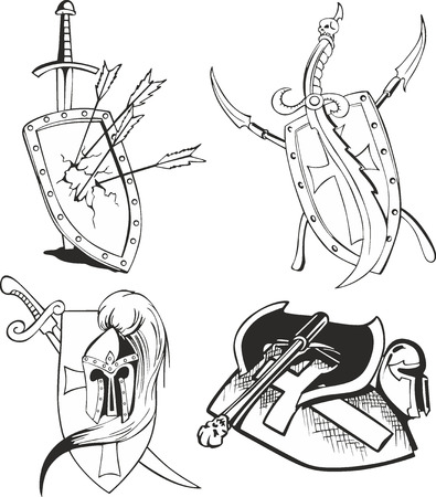 cold war: Set of outline black and white tattoo sketches of knight shields with blades and medieval crusader weapon - swords, daggers, arrows, helmets and axe Illustration