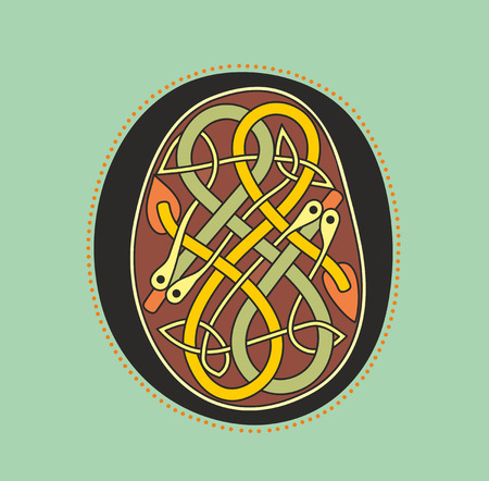 romanesque: Decorative ornamental initial letter O in Celtic style in form of serpentine knot like an illustration in antique medieval illuminated manuscript