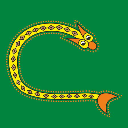 romanesque: Decorative ornamental initial letter C in Celtic style in form of snake like an illustration in antique medieval illuminated manuscript