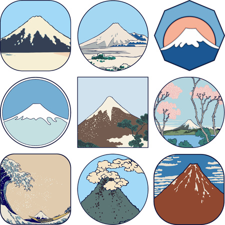 Set of picturesque sketches of Mount Fuji in Japan. Views of Mount Fuji from different sides and in all seasons.