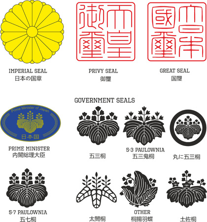 Set of official national Japanese seals including imperial chrysanthemum flower emblem and Japan governmental paulownia seal, with Japanese hieroglyphs