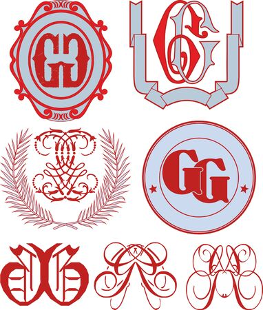 initial: Set of GG monograms and decorative emblem templates with two letters GG. Vector collection.