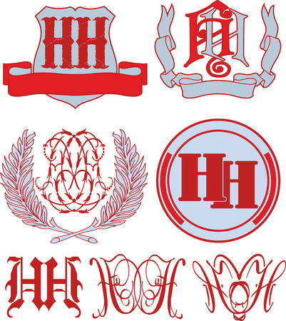 emblematic: Set of HH monograms and decorative emblem templates with two letters HH. Vector collection.