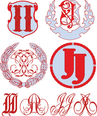 Set of II (JJ) monograms and decorative emblem templates with two letters II (JJ). Vector collection.