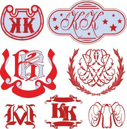 Set of KK monograms and decorative emblem templates with two letters KK. Vector collection. Vektoros illusztráció