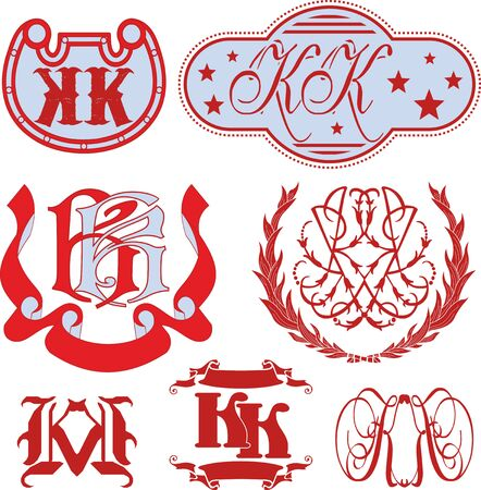 Set of KK monograms and decorative emblem templates with two letters KK. Vector collection. Illustration