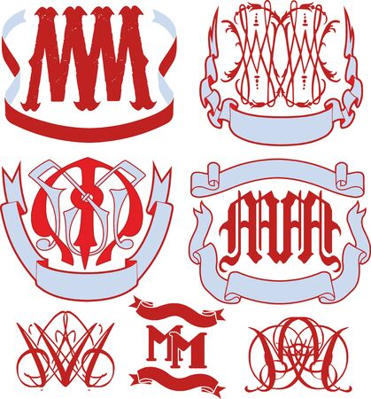 emblematic: Set of MM monograms and decorative emblem templates with two letters MM. Vector collection. Illustration