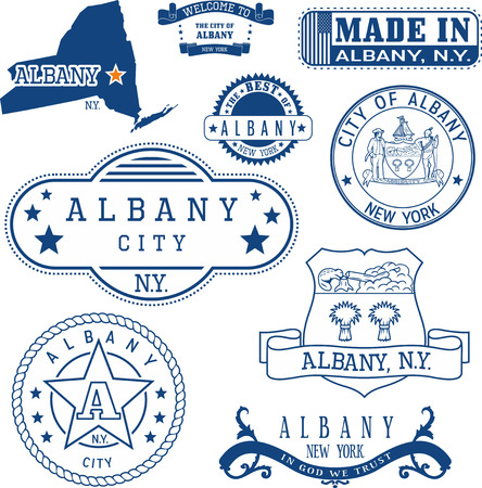 emblematic: Albany city, New York. Set of generic stamps and signs including Albany city seal elements and location of the city on New York state map. Illustration