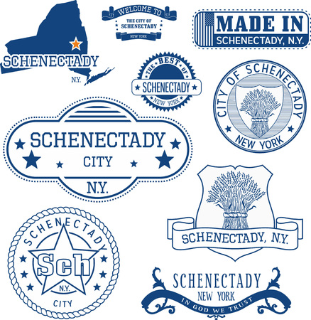 Schenectady city, New York. Set of generic stamps and signs including Schenectady city seal elements and location of the city on New York state map. Çizim