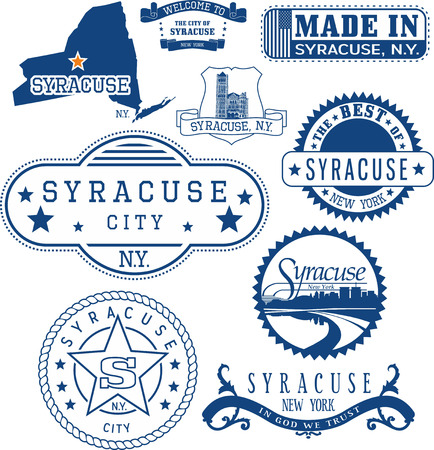 generic location: Syracuse city, New York. Set of generic stamps and signs including Syracuse city seal elements and location of the city on New York state map. Illustration