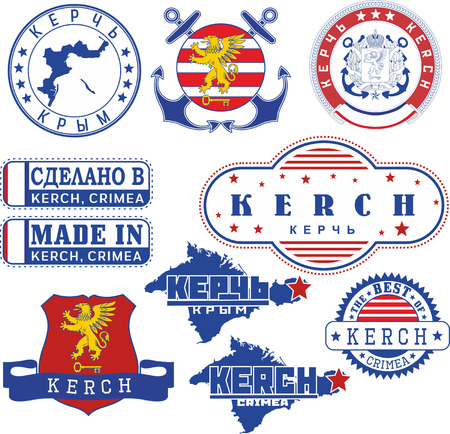 Kerch, Crimea. Set of generic stamps and signs including elements of Kerch city coat of arms and location of the city on Crimea map.