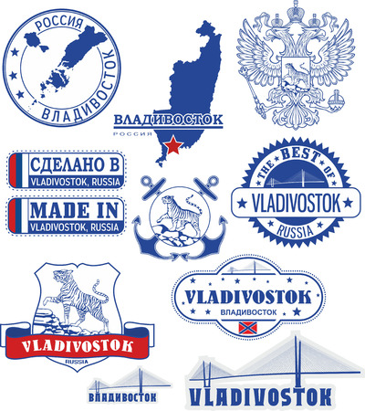 generic location: Vladivostok, Russia. Set of generic stamps and signs including elements of Vladivostok city coat of arms and location of the city on Primorsky krai map.