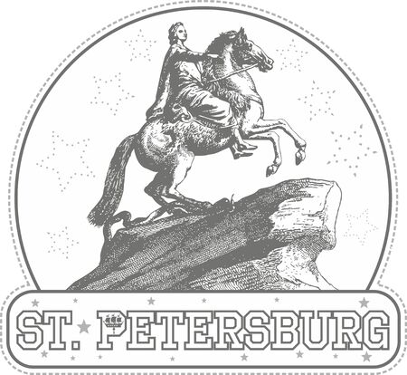 peter the great: Sticker with the Bronze Horseman (Peter I The Great) monument in St. Petersburg, Russia Illustration