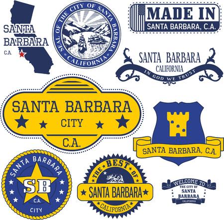 Set of generic stamps and signs of Santa Barbara city, California