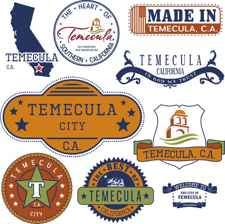 Set of generic stamps and signs of Temecula city, California