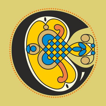 アンティークの中世写本の図のような幾何学的形態のケルト様式の装飾的な装飾用初期文字 C