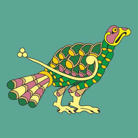 Decorative peacock bird in Celtic style like an illustration in antique medieval illuminated manuscript