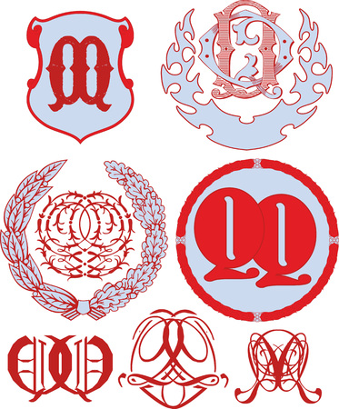Set of QQ monograms and decorative emblem templates with two letters FF. Vector collection Illustration