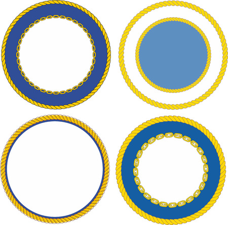 Set of round naval emblem crest templates 일러스트