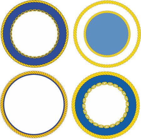 Set of round naval emblem crest templates Vettoriali