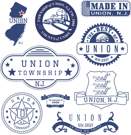 Union township, New Jersey. Set of generic stamps and signs