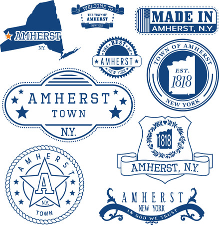 일반 우표 및 애 머스트 마을, 뉴욕 주 표지판 집합