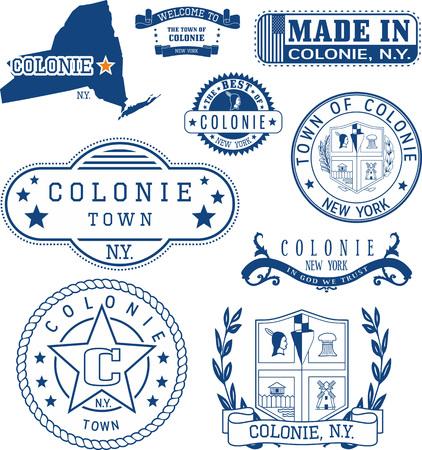 ニューヨーク州コロニーの町の標識、一般的な切手のセット