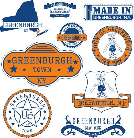 일반 우표 및 징글 Greenburgh 마, 뉴욕 상태 집합 일러스트