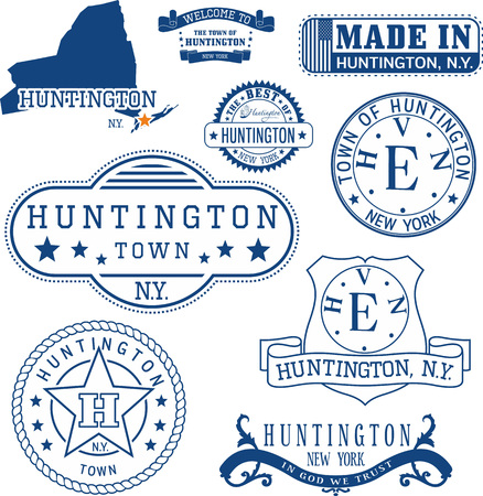 Set of generic stamps and signs of Huntington town, New York state Illustration