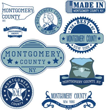 일반 우표 및 몽고메리 카운티, 뉴욕 주 징후 집합 일러스트