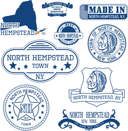 Set of generic stamps and signs of North Hempstead town, New York state
