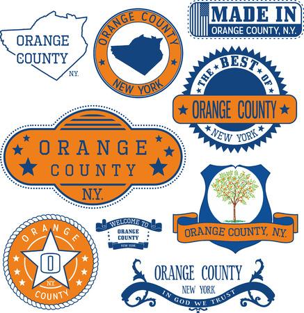 일반 우표 및 오렌지 카운티, 뉴욕 주 표지판 집합 일러스트