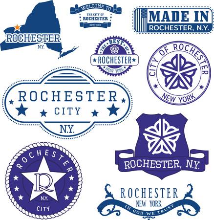 一般的なスタンプとニューヨーク州ロチェスター市の印のセット