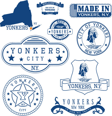 일반 우표 및 Yonkers 도시, 뉴욕 주 표지판 집합 일러스트