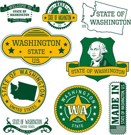일반 우표 및 워싱턴 주 표지판 집합 일러스트
