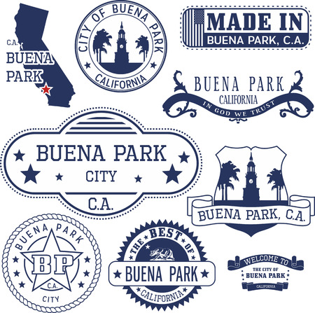 orange county: Set of generic stamps and signs of Buena Park city, California Illustration