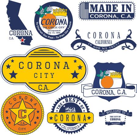 코로나 도시, 캘리포니아의 일반 우표 및 징후 집합 일러스트
