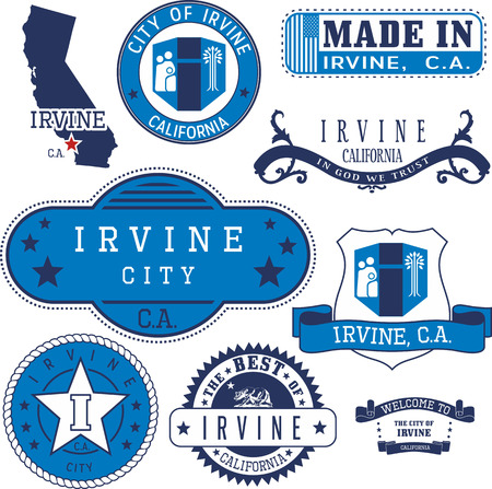 Set of generic stamps and signs of Irvine city, California Çizim