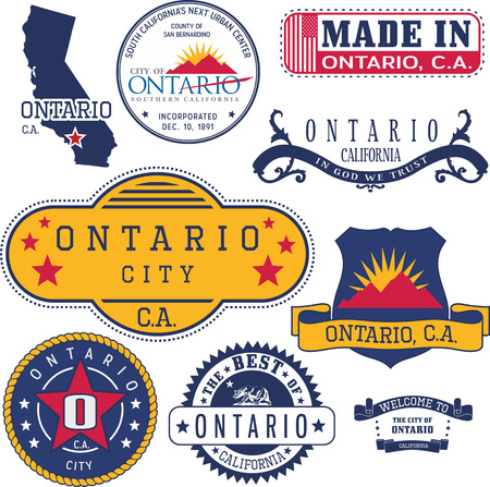 unofficial: Set of generic stamps and signs of Ontario city, California Illustration