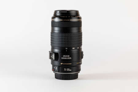 Madrid, Spain; June 05, 2020. Reflex camera lens. View outside the camera. Zoom and fixed lenses. Photography accessories. Editorial