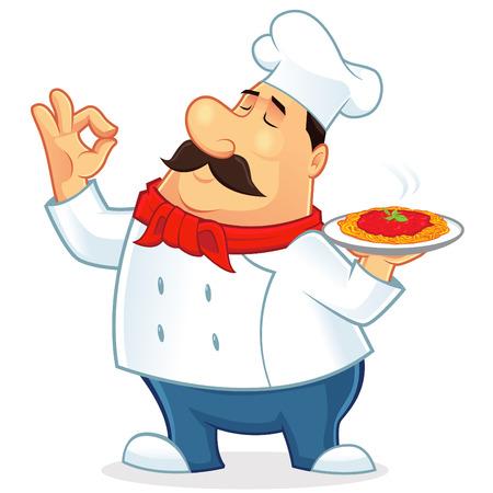 chef italiano: Ilustración de un cocinero italiano mascota Vectores