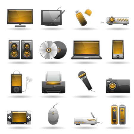 computer memory: electronic icon set Illustration