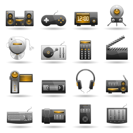 clock radio: conjunto de iconos electr�nica