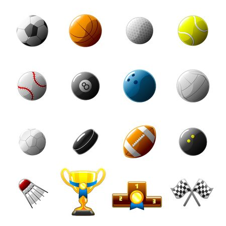 sport balls and objects icon set Vector