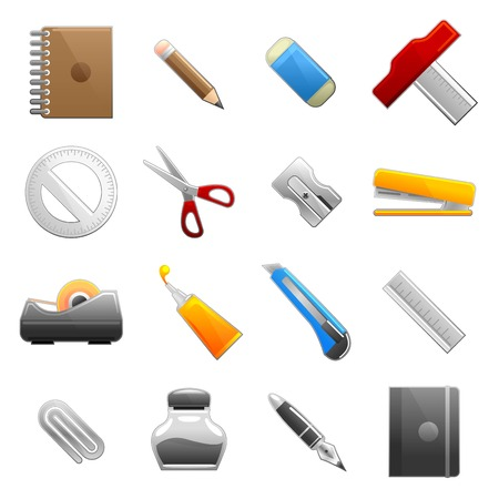 stationery icon set Stock Vector - 7882350
