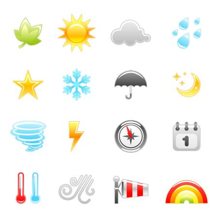sun and moon: weather icon set Illustration
