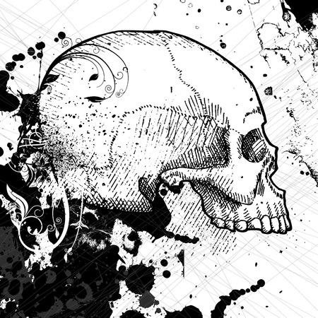 warning graphic: skull vector  Illustration