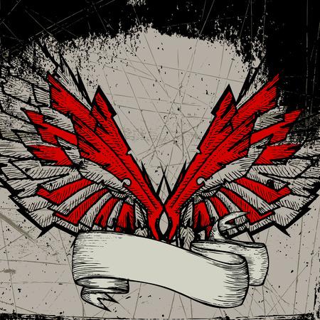 cross and wings: marco de ala de grunge  Vectores