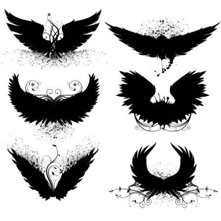 cross and wings: silueta de ala de grunge